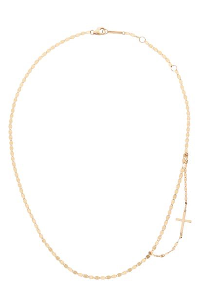 Lana Double Strand Side Cross Necklace In Yellow Gold