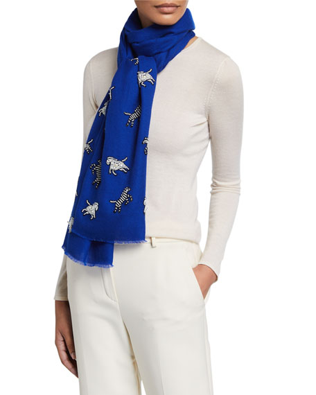 K Janavi Horse & Zebra Beaded Cashmere Scarf In Royal Blue