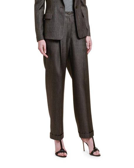 Giorgio Armani Wool-Silk High-Rise Wide Leg Pants In Brown