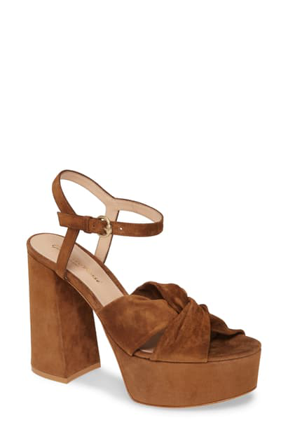 Gianvito Rossi 70mm Platform Sandals With Twist Front In Texas Suede