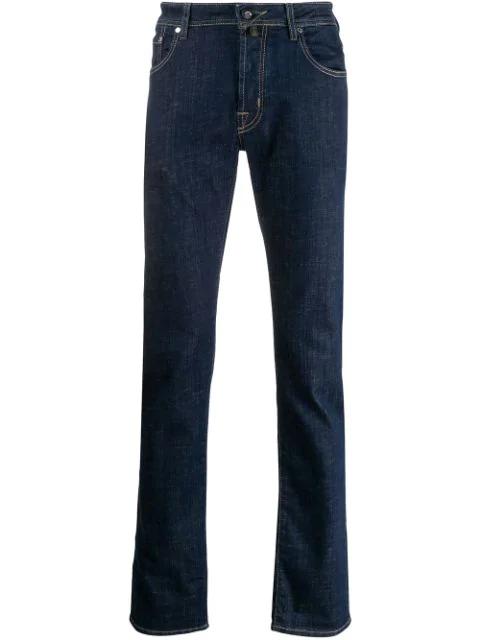 Jacob Cohen Mid Rise Slim Fit Jeans In 001-lav. 1 Blue