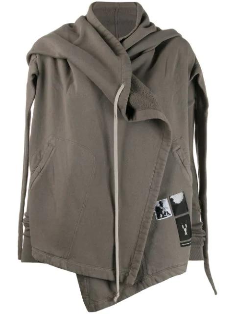 Rick Owens Drkshdw Hooded Wrap Zipped Sweatshirt In Grey