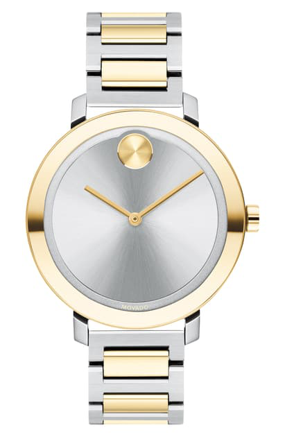 Movado Bold Evolution Watch, 34Mm In Silver/ Gold