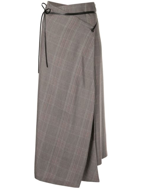 Muller Of Yoshiokubo High-waisted Check Skirt In Brown