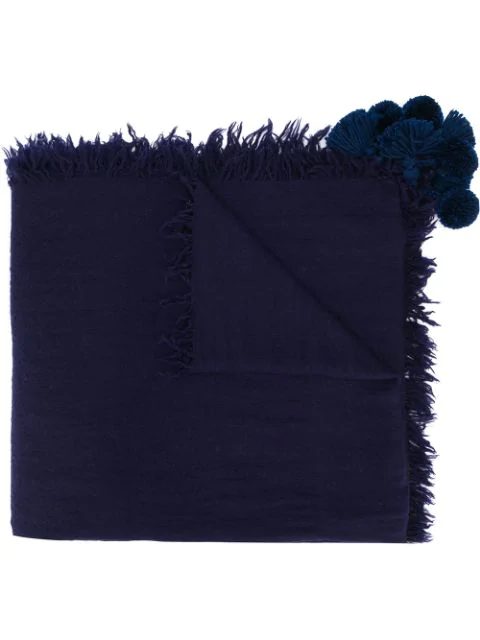 Aspesi Schal Mit Pompons In Blue