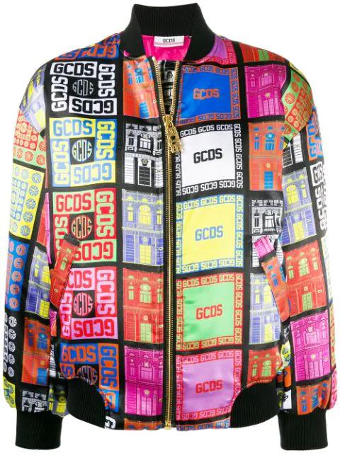 Gcds Logo Print Bomber Jacket In Mx Multicolor