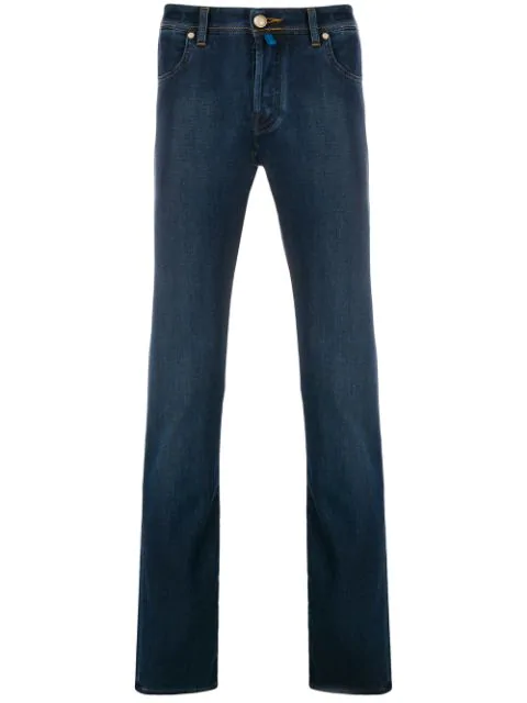 Jacob Cohen Embroidered Logo Jeans In Blue