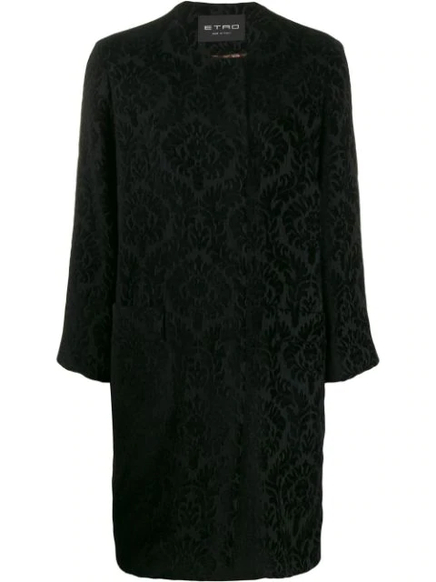 Etro Kragenloser Brokat-mantel In 1 Black