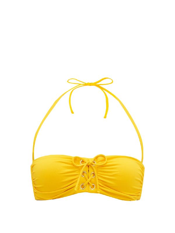 Melissa Odabash Malaysia Laced Bandeau Bikini Top In Yellow