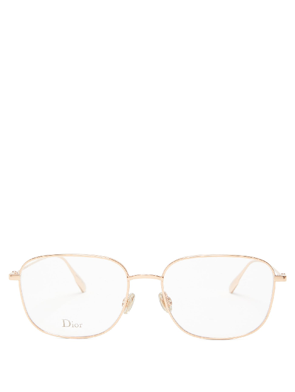 Dior Stellaire1 Square Metal Glasses In Rose Gold