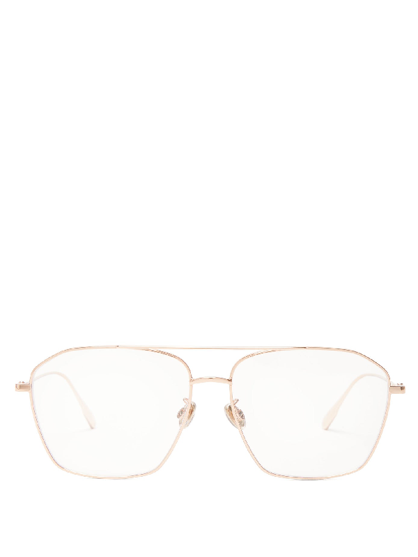 Dior Stellaire Aviator Metal Glasses In Rose Gold