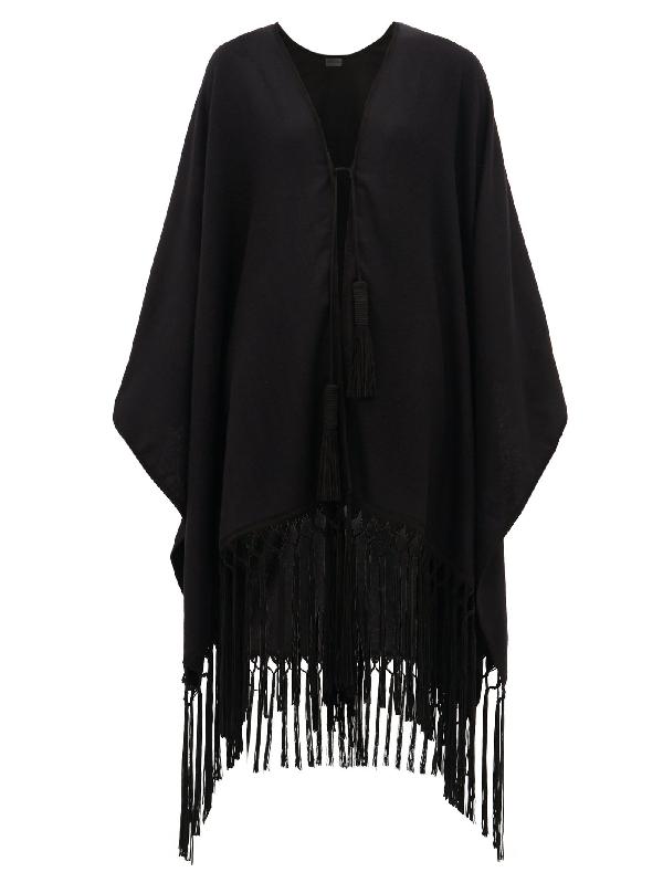 Saint Laurent Suede-tasselled Cashmere Poncho In Black