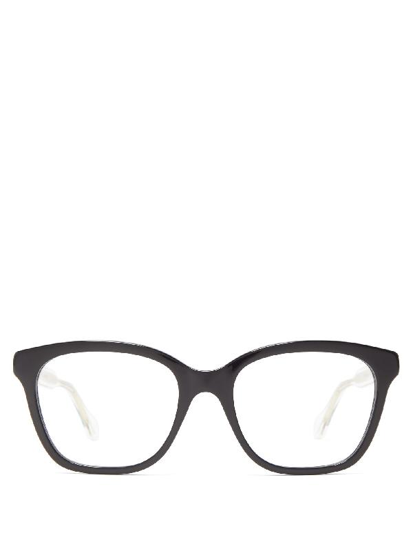 Gucci Square Acetate Glasses In Black