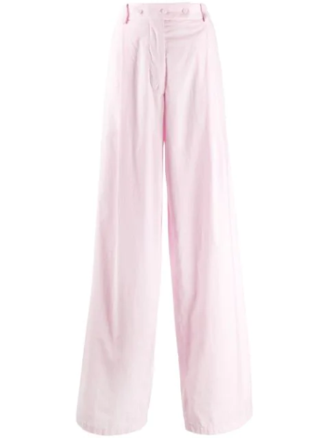 Maison Flaneur Wide-leg Trousers In Pink