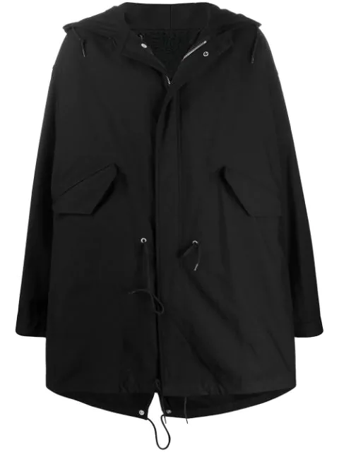 Raf Simons Antwerp Print Parka Coat In Black