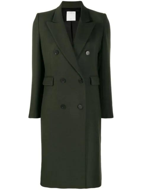 Sandro Double Breasted Midi Coat In Green