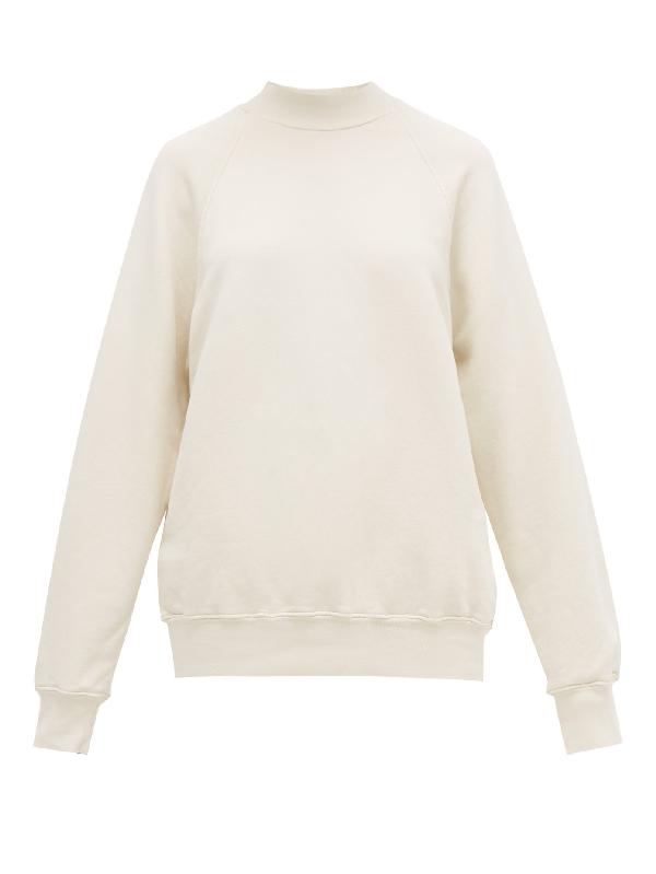 Les Tien High-neck Brushed-back Cotton Sweatshirt In Ivory