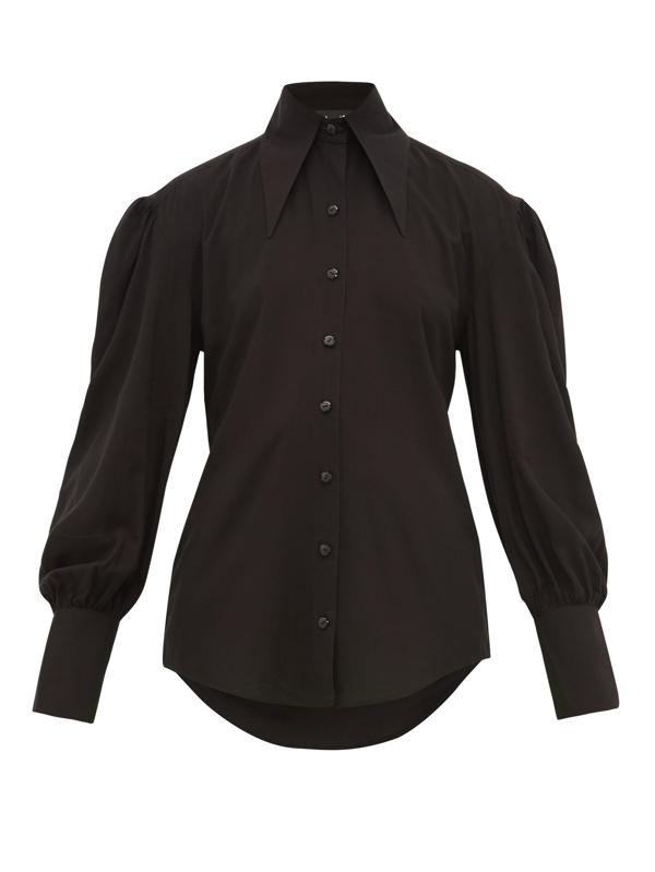 Elzinga Point-collar Cotton Blouse In Black