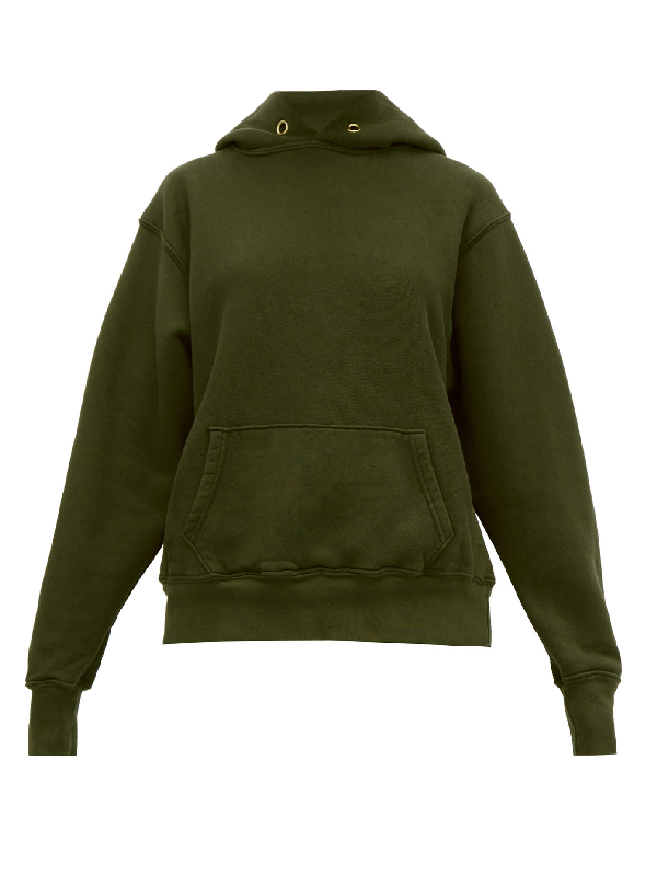 Les Tien Brushed-back Cotton Hooded Sweatshirt In Khaki