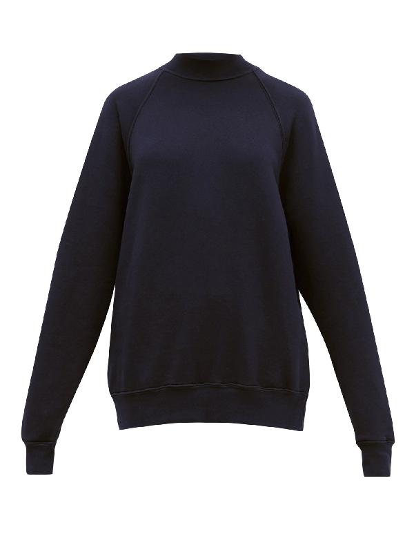 Les Tien High-neck Brushed-back Cotton Sweatshirt In Navy