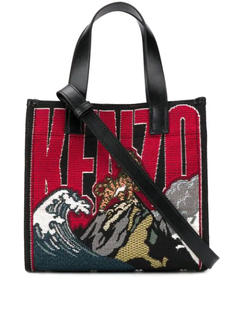 Kenzo Jungle Tiger Mountain Embroidered Tote Bag In Red