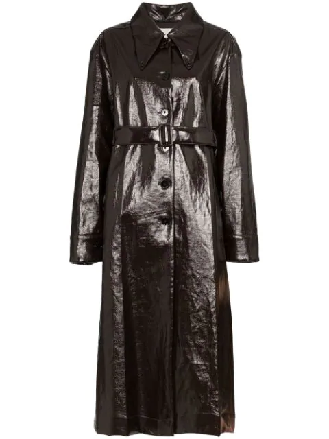 Lemaire Button Front Coat In Brown