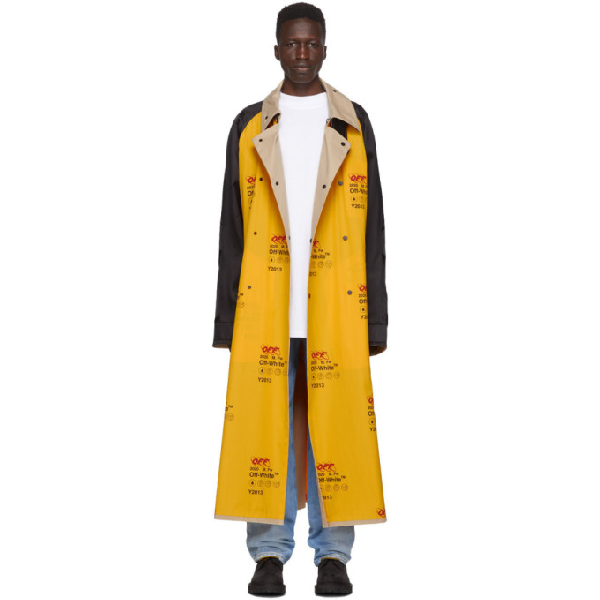 Off-white Logo-print Contrast-panel Trench Coat In 6000 Ylwno