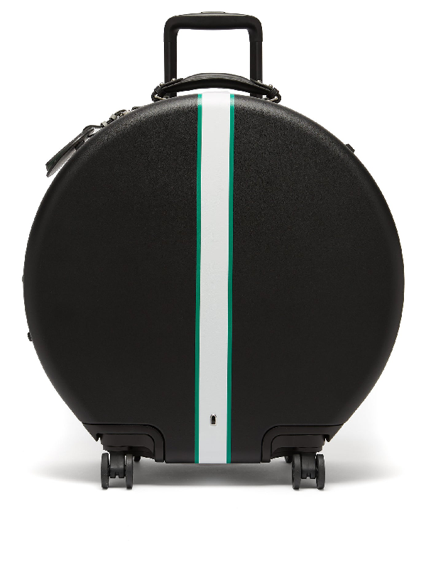 Ookonn Front-stripe Circular Check-in Suitcase In Black Green