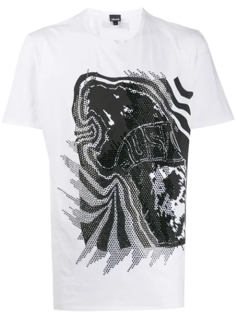 Just Cavalli Embellished Graphic-print T-shirt In White