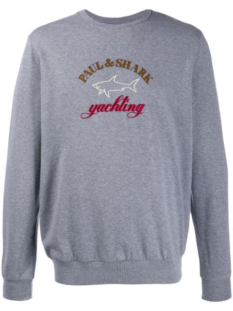 Paul & Shark Embroidered Logo Jumper In Grey
