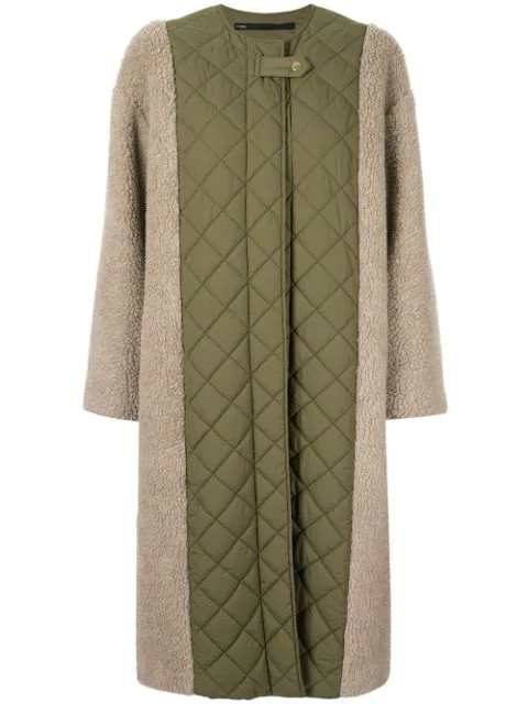 Muller Of Yoshiokubo Contrast Quilted Midi Coat In Green