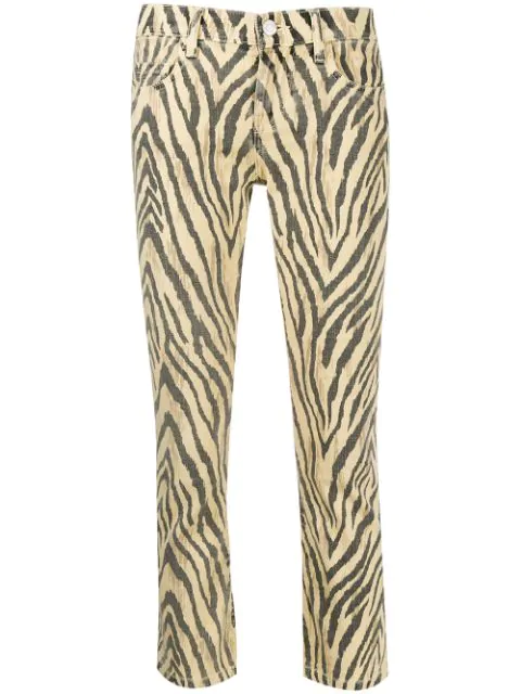 Current Elliott Zebra Print Cropped Trousers In Yellow