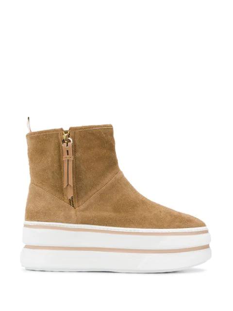 Hogan Platform Boots In Brown