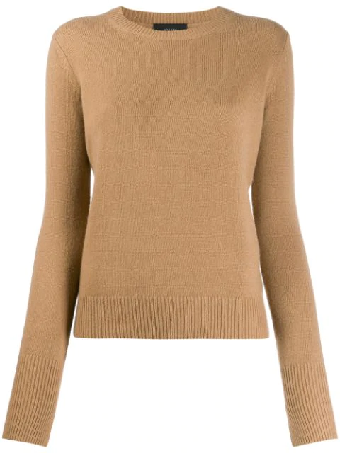 Joseph Cashmere Round Neck Jumper In Brown
