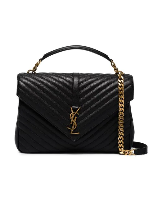 Saint Laurent Monogram CollÈGe Small Quilted Leather Satchel In Black