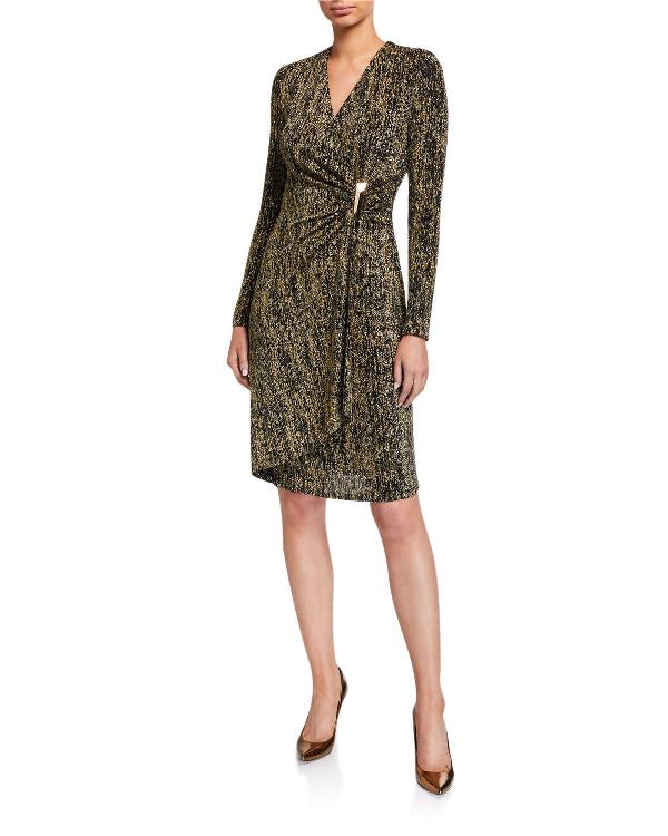 Calvin Klein Shimmer Side Bar Faux-Wrap Dress In Black/Gold