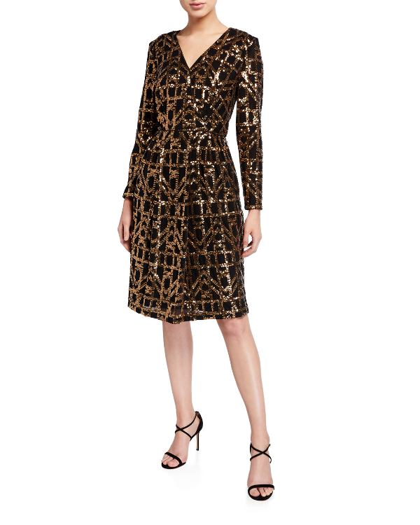 Calvin Klein Bling Long-Sleeve Faux-Wrap Dress In Brown