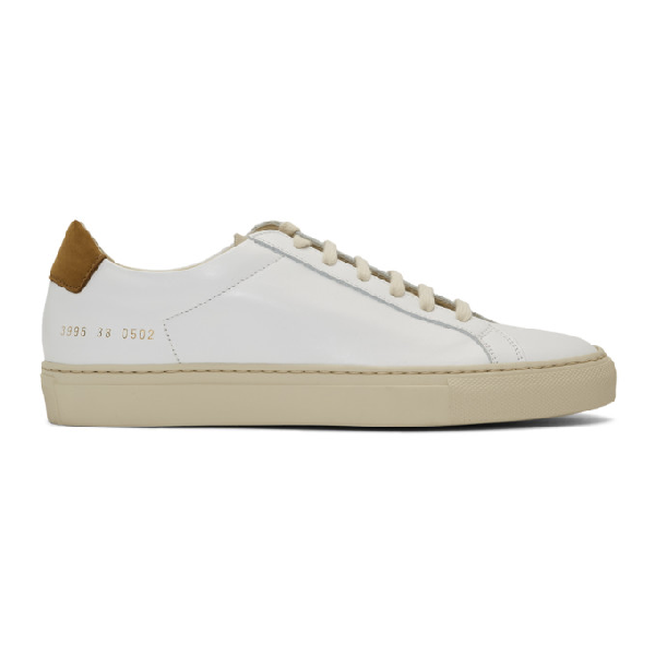 Common Projects Woman By  White And Tan Retro Low Special Edition Sneakers In 0502 Wht/ta