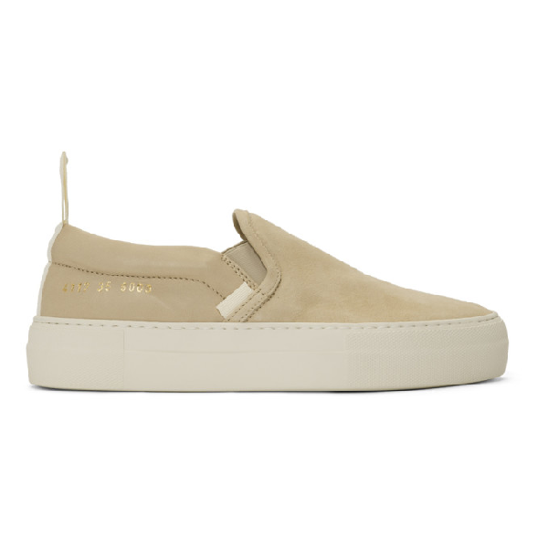 Common Projects Woman By  Beige Leather And Suede Slip-on Sneakers In 6003 Blush