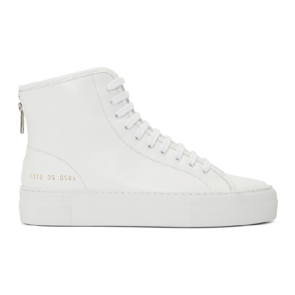 Common Projects Woman By  White Tournament High Super Sneakers In 0506 White
