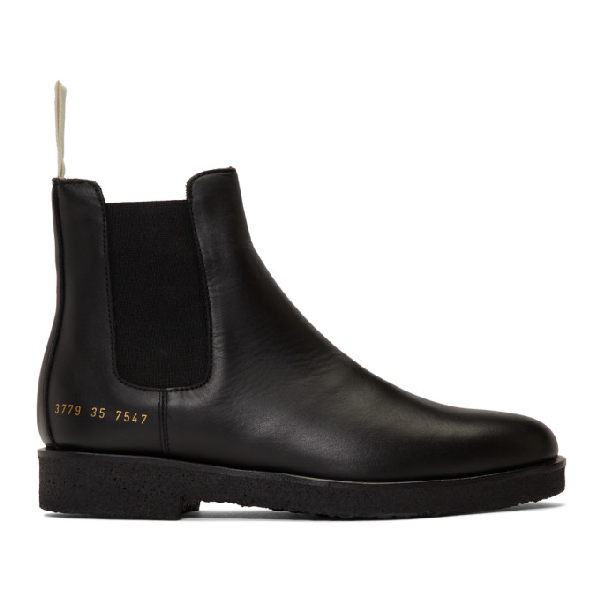 Common Projects Woman By  Ssense Exclusive Black Leather Chelsea Boots In 7574 Black