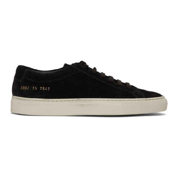 Common Projects Woman By  Black Suede Original Achilles Low Sneakers In 7574 Black