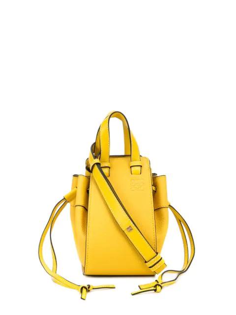 Loewe Hammock Mini Drawstring Textured-leather Bag In Yellow