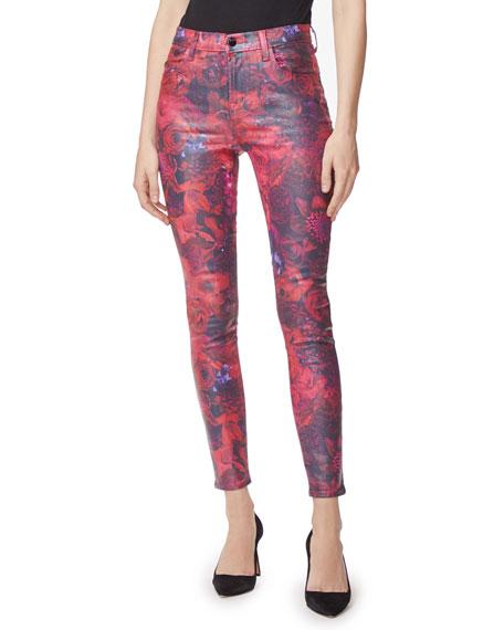 J Brand Maria High Rise Skinny Coated Jeans In Fleur Rouge In Multi