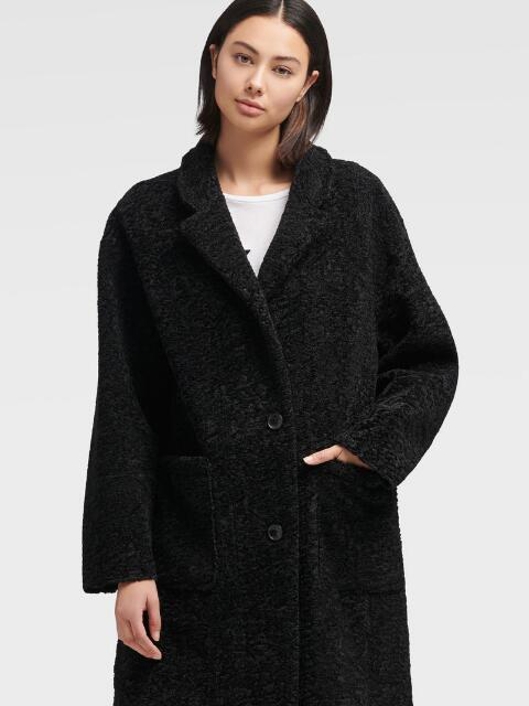 Donna Karan New York Oversized-Lapel Teddy Coat In Dark Grey