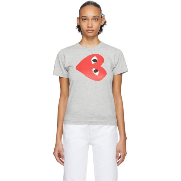 Comme Des Garçons Play Comme Des Garcons Play Grey Horizontal Heart T-shirt