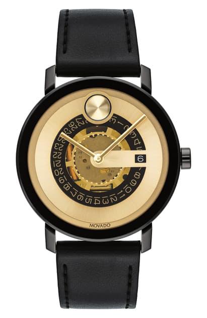 Movado Bold Evolution Leather Strap Watch, 40mm In Black/ Gold/ Black