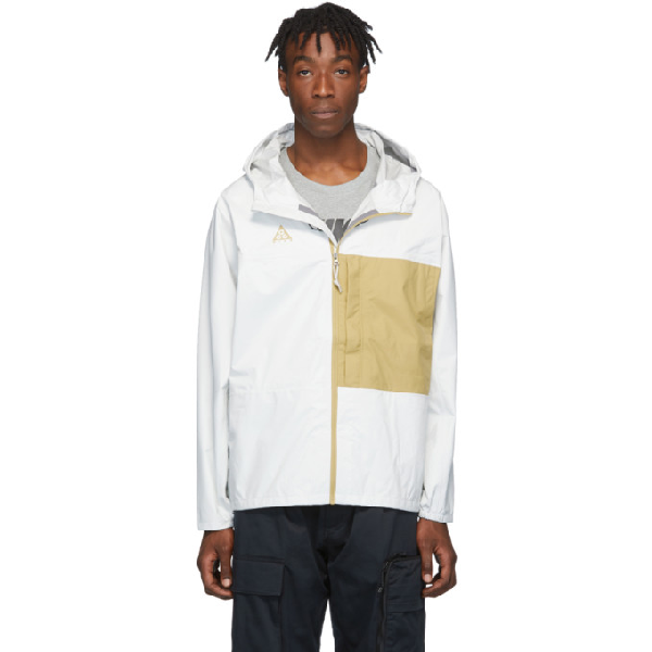 Nike White And Yellow Acg Packable Rain Jacket In 010 Summit
