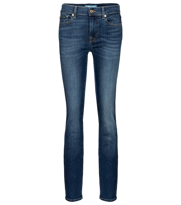 7 For All Mankind Roxanne Bair Mid-rise Slim-fit Jeans In Blue