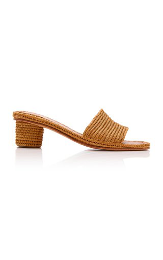 Carrie Forbes Bou Raffia Heeled Mule In Neutral